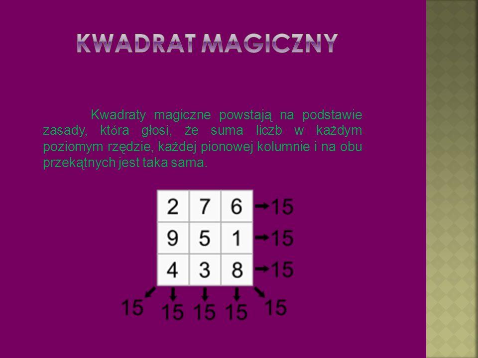 Kwadraty magiczne powstają na podstawie zasady, kt ó ra głosi, że suma liczb w każdym poziomym rzędzie, każdej pionowej kolumnie i na obu przekątnych jest taka sama.