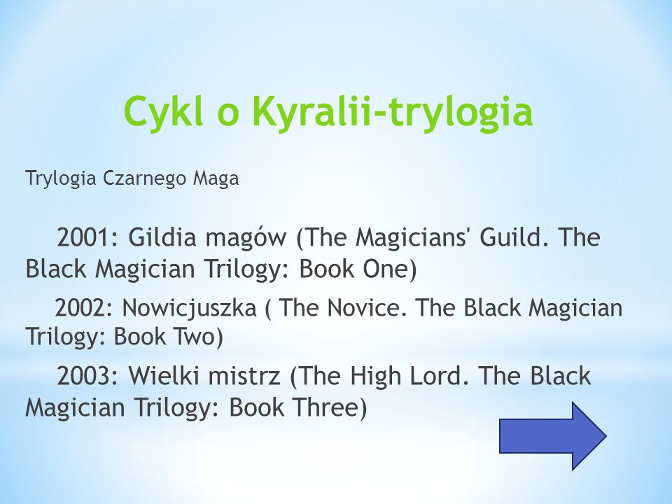 Cykl o Kyralii-trylogia Trylogia Czarnego Maga 2001: Gildia magów (The Magicians' Guild. The Black Magician Trilogy: Book One) 2002: Nowicjuszka ( The
