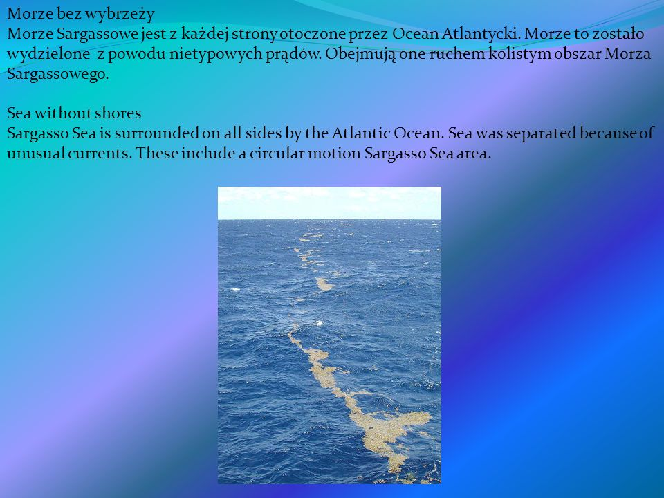 Morze bez wybrzeży Morze Sargassowe jest z każdej strony otoczone przez Ocean Atlantycki. Morze to zostało wydzielone z powodu nietypowych prądów. Obe