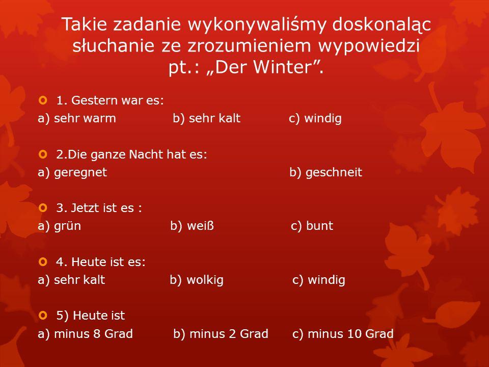 Takie zadanie wykonywaliśmy doskonaląc słuchanie ze zrozumieniem wypowiedzi pt.: Der Winter.