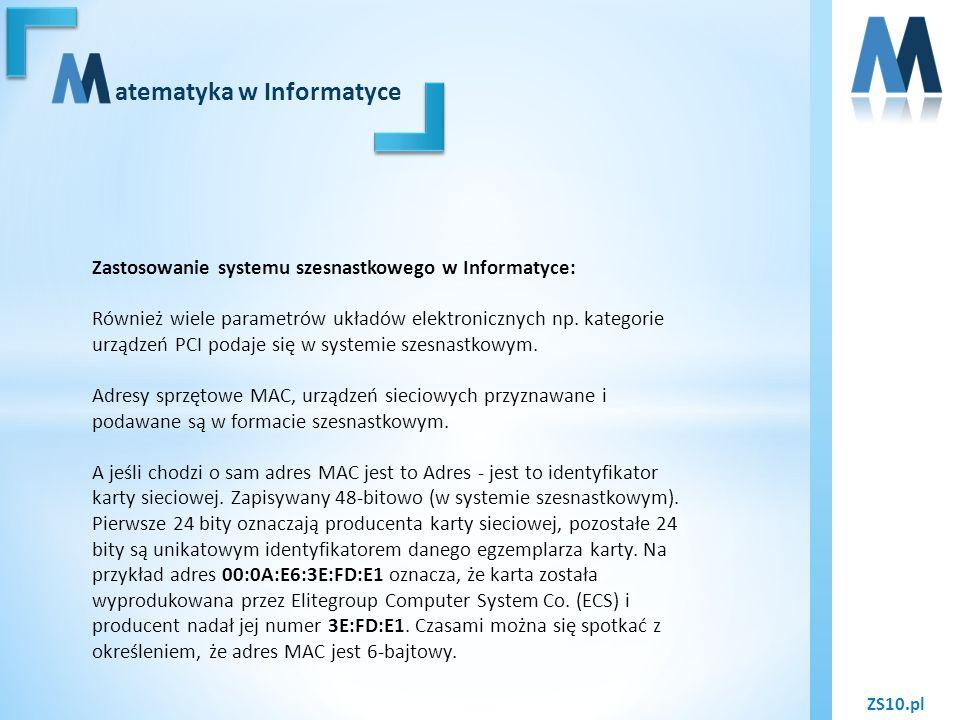 ZS10.pl atematyka w Informatyce Zastosowanie systemu szesnastkowego w Informatyce: Również wiele parametrów układów elektronicznych np. kategorie urzą