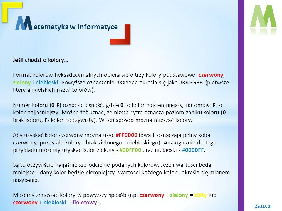 ZS10.pl atematyka w Informatyce Jeśli chodzi o kolory… Poniżej przedstawiamy przykłady zapisu podstawowych kolorów w systemie szesnastkowym.