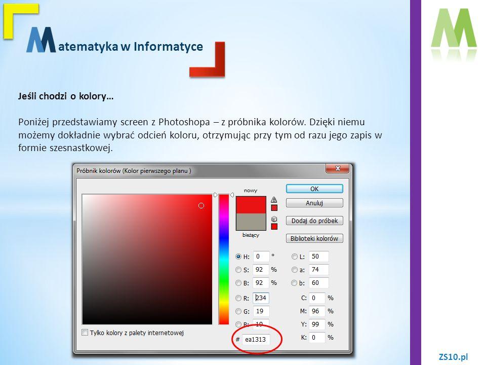 ZS10.pl atematyka w Informatyce Jeśli chodzi o kolory… To właśnie dzięki systemowi szesnastkowemu możemy otrzymać tak rozległą paletę barw, przy tym tworząc wspaniałe prace urozmaicone o każdy możliwy detal.