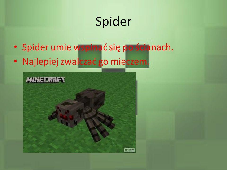 Spider Spider umie wspinać się po ścianach. Najlepiej zwalczać go mieczem.
