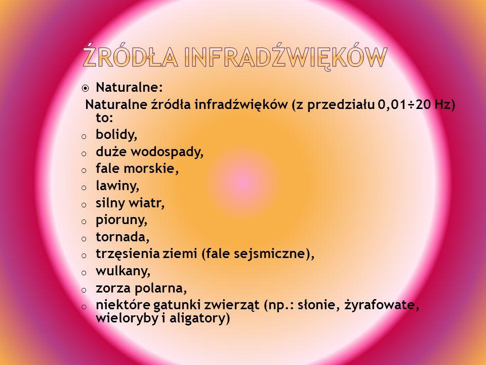 Naturalne: Naturalne źródła infradźwięków (z przedziału 0,01÷20 Hz) to: o bolidy, o duże wodospady, o fale morskie, o lawiny, o silny wiatr, o pioruny