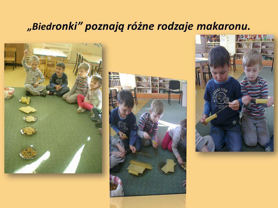 Biedr onki poznają różne rodzaje makaronu.
