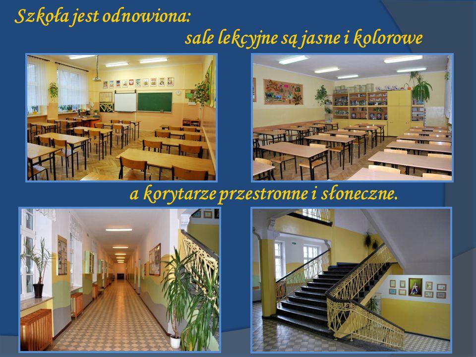 Szkoła jest odnowiona: a korytarze przestronne i słoneczne. sale lekcyjne są jasne i kolorowe