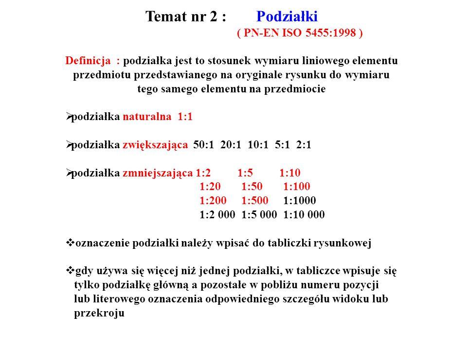 Temat nr 2 : Podziałki ( PN-EN ISO 5455:1998 ) Definicja : podziałka jest to stosunek wymiaru liniowego elementu przedmiotu przedstawianego na oryginale rysunku do wymiaru tego samego elementu na przedmiocie podziałka naturalna 1:1 podziałka zwiększająca 50:1 20:1 10:1 5:1 2:1 podziałka zmniejszająca 1:2 1:5 1:10 1:20 1:50 1:100 1:200 1:500 1:1000 1:2 000 1:5 000 1:10 000 oznaczenie podziałki należy wpisać do tabliczki rysunkowej gdy używa się więcej niż jednej podziałki, w tabliczce wpisuje się tylko podziałkę główną a pozostałe w pobliżu numeru pozycji lub literowego oznaczenia odpowiedniego szczegółu widoku lub przekroju