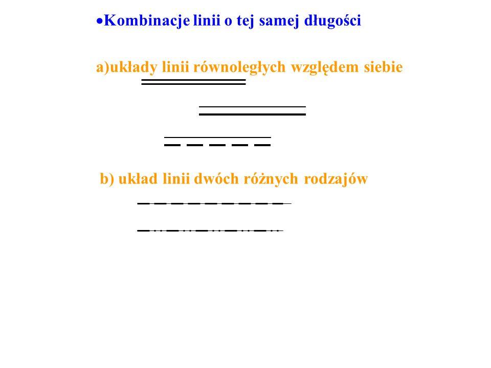 Kombinacje linii o tej samej długości a)układy linii równoległych względem siebie b) układ linii dwóch różnych rodzajów