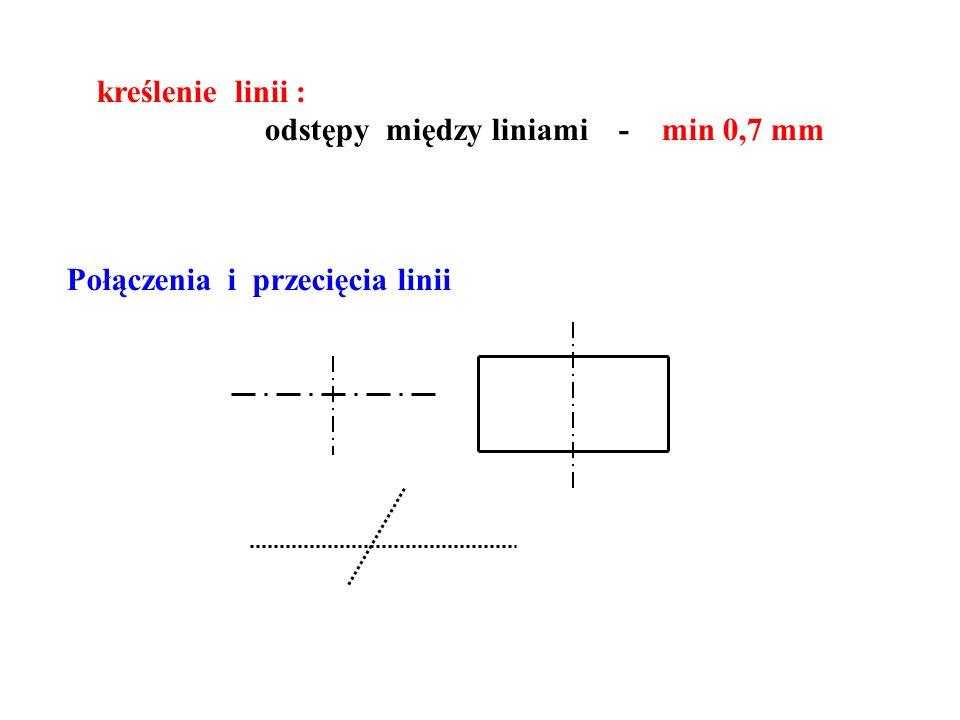 kreślenie linii : odstępy między liniami - min 0,7 mm Połączenia i przecięcia linii