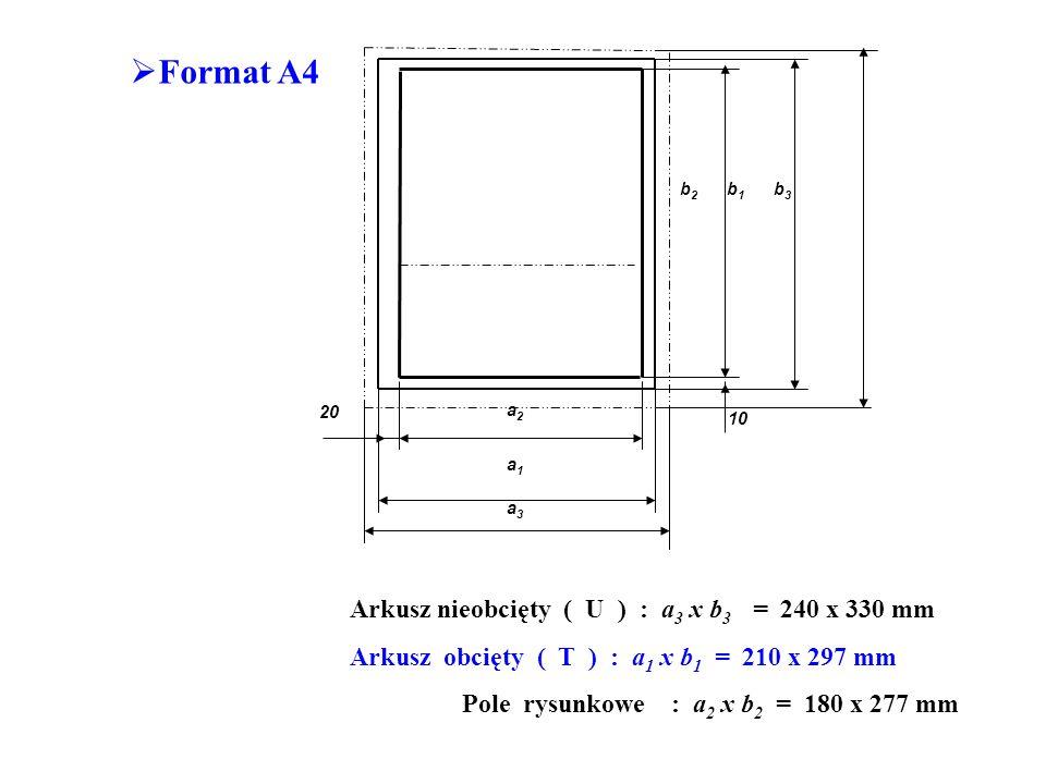 Format A4 10 20 b 2 b 1 b 3 a3a3 a1a1 a2a2 Arkusz nieobcięty ( U ) : a 3 x b 3 = 240 x 330 mm Arkusz obcięty ( T ) : a 1 x b 1 = 210 x 297 mm Pole rysunkowe : a 2 x b 2 = 180 x 277 mm