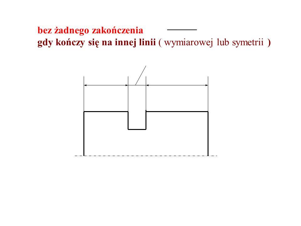 bez żadnego zakończenia gdy kończy się na innej linii ( wymiarowej lub symetrii )