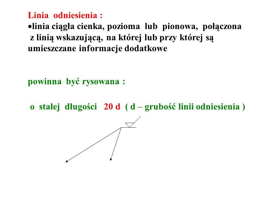 Linia odniesienia : linia ciągła cienka, pozioma lub pionowa, połączona z linią wskazującą, na której lub przy której są umieszczane informacje dodatkowe powinna być rysowana : o stałej długości 20 d ( d – grubość linii odniesienia )
