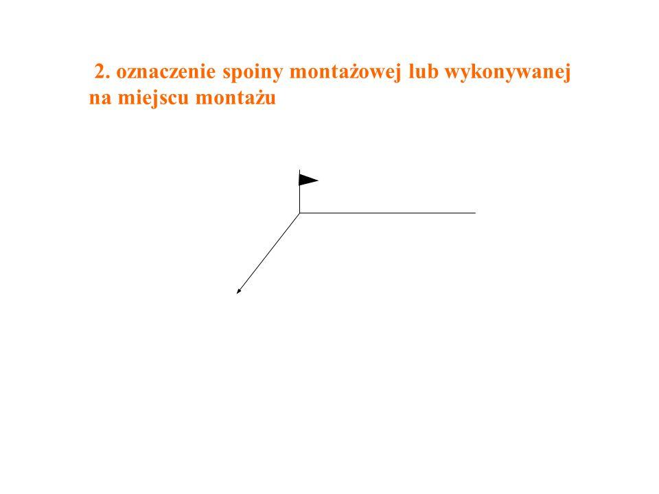 2. oznaczenie spoiny montażowej lub wykonywanej na miejscu montażu