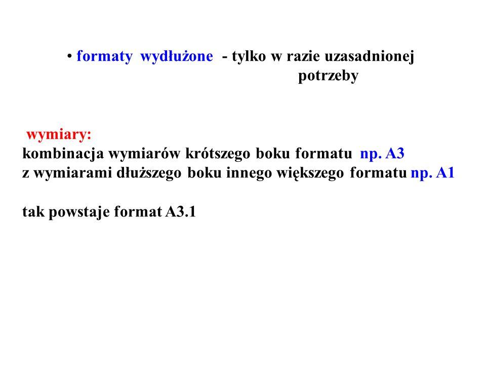formaty wydłużone - tylko w razie uzasadnionej potrzeby wymiary: kombinacja wymiarów krótszego boku formatu np.