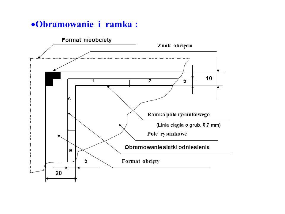 Format nieobcięty Znak obcięcia 10 5 Pole rysunkowe Ramka pola rysunkowego Format obcięty Obramowanie siatki odniesienia 12 A B 5 20 (Linia ciągła o grub.