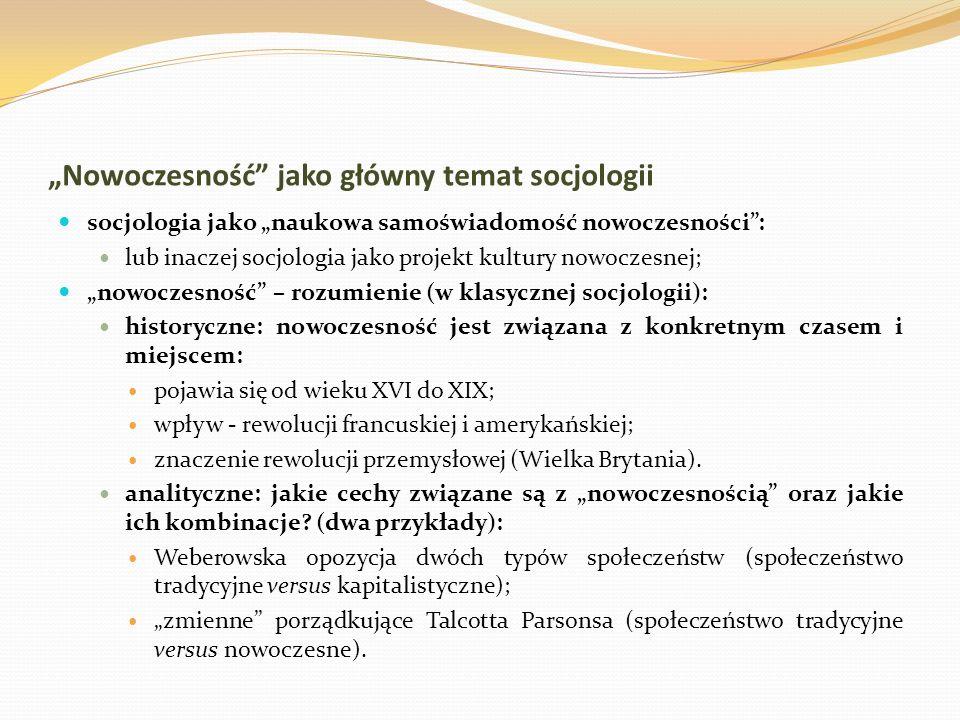 Nowoczesność jako główny temat socjologii socjologia jako naukowa samoświadomość nowoczesności: lub inaczej socjologia jako projekt kultury nowoczesne