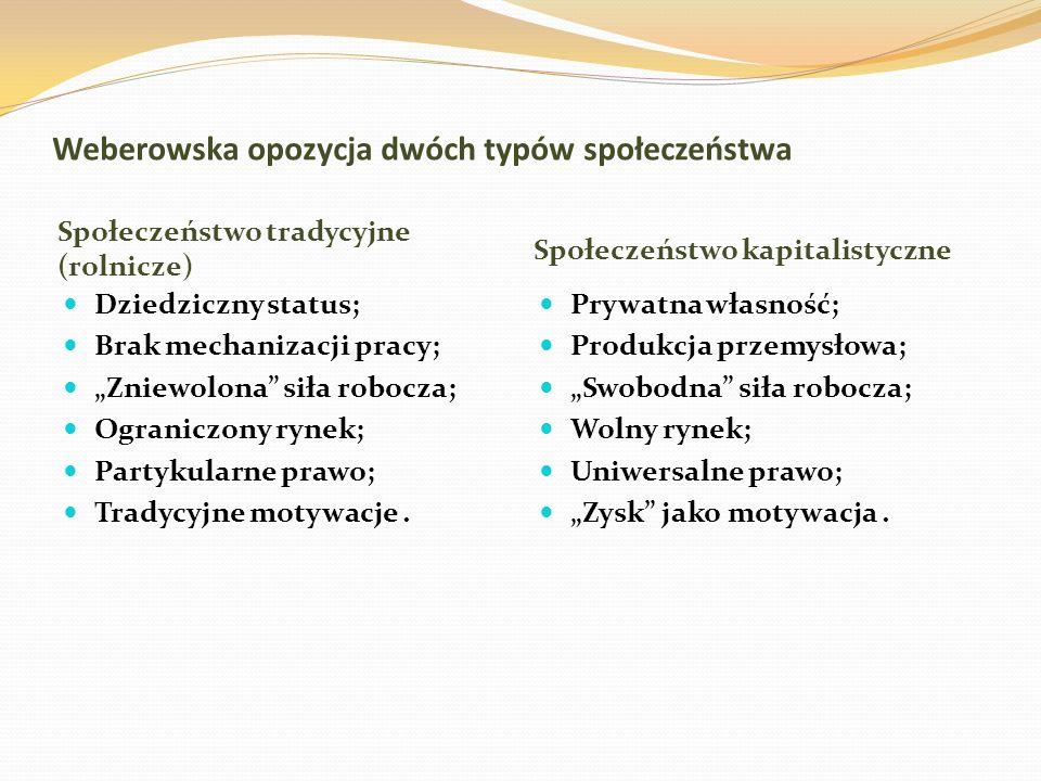 Weberowska opozycja dwóch typów społeczeństwa Społeczeństwo tradycyjne (rolnicze) Społeczeństwo kapitalistyczne Dziedziczny status; Brak mechanizacji