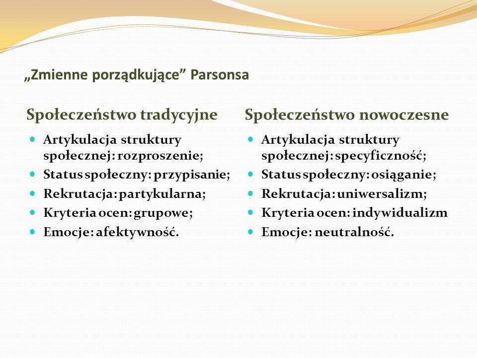 Zmienne porządkujące Parsonsa Społeczeństwo tradycyjne Społeczeństwo nowoczesne Artykulacja struktury społecznej: rozproszenie; Status społeczny: przy