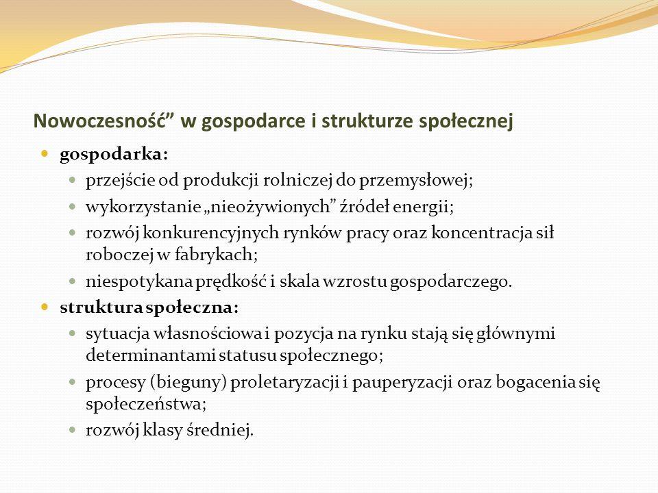 Nowoczesność w gospodarce i strukturze społecznej gospodarka: przejście od produkcji rolniczej do przemysłowej; wykorzystanie nieożywionych źródeł ene