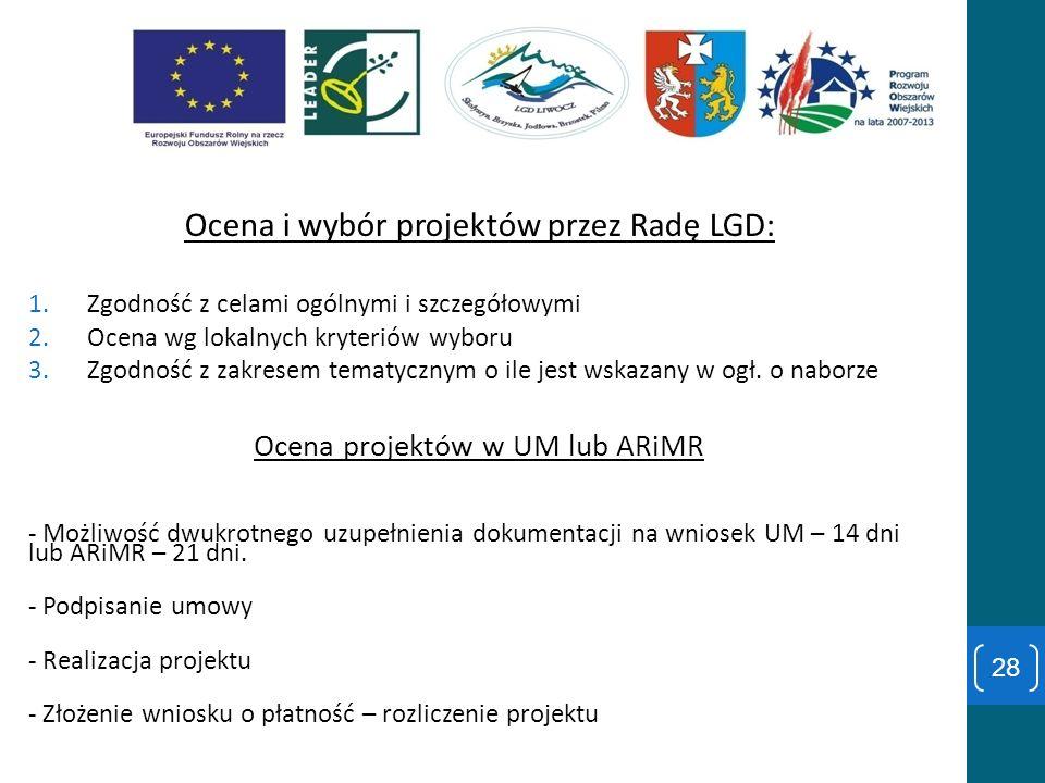 Ocena i wybór projektów przez Radę LGD: 1.Zgodność z celami ogólnymi i szczegółowymi 2.Ocena wg lokalnych kryteriów wyboru 3.Zgodność z zakresem temat