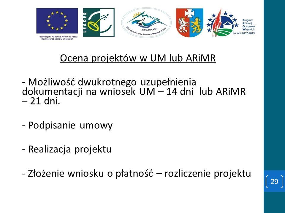 Ocena projektów w UM lub ARiMR - Możliwość dwukrotnego uzupełnienia dokumentacji na wniosek UM – 14 dni lub ARiMR – 21 dni. - Podpisanie umowy - Reali