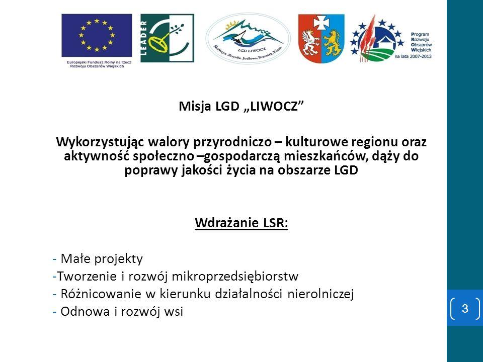 Misja LGD LIWOCZ Wykorzystując walory przyrodniczo – kulturowe regionu oraz aktywność społeczno –gospodarczą mieszkańców, dąży do poprawy jakości życi