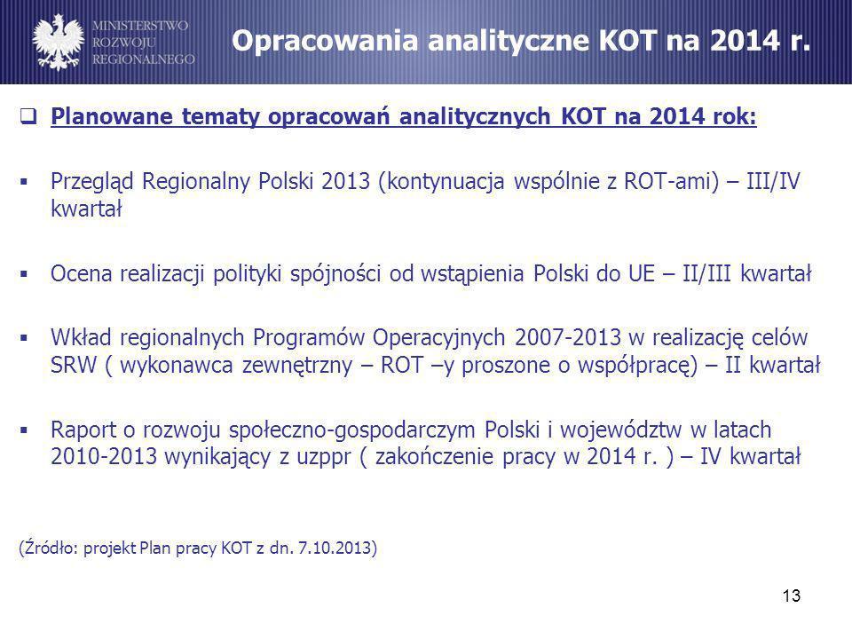 Planowane tematy opracowań analitycznych KOT na 2014 rok: Przegląd Regionalny Polski 2013 (kontynuacja wspólnie z ROT-ami) – III/IV kwartał Ocena real