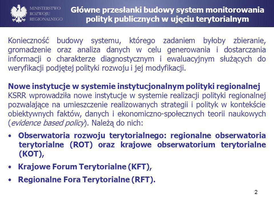 2 Główne przesłanki budowy system monitorowania polityk publicznych w ujęciu terytorialnym Konieczność budowy systemu, którego zadaniem byłoby zbieran