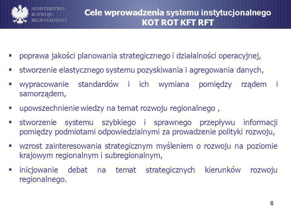 6 Cele wprowadzenia systemu instytucjonalnego KOT ROT KFT RFT poprawa jakości planowania strategicznego i działalności operacyjnej, stworzenie elastyc