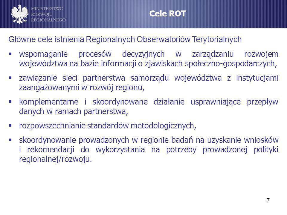8 REGIONALNE OBSERWATORIA TERYTORIALNE (ROT) Główne zadania ROT prowadzenie badań, ewaluacji i analiz strategicznych na potrzeby planowania strategicznego działalności operacyjnej i prognozowania zmian społeczno-gospodarczych, wspieranie budowy odpowiedniego systemu monitorowania procesów rozwojowych i efektów prowadzonej polityki rozwoju w ujęciu terytorialnym, monitorowanie i ocena postępów w realizacji priorytetów rozwojowych określonych na poziomie regionalnym, m.in.