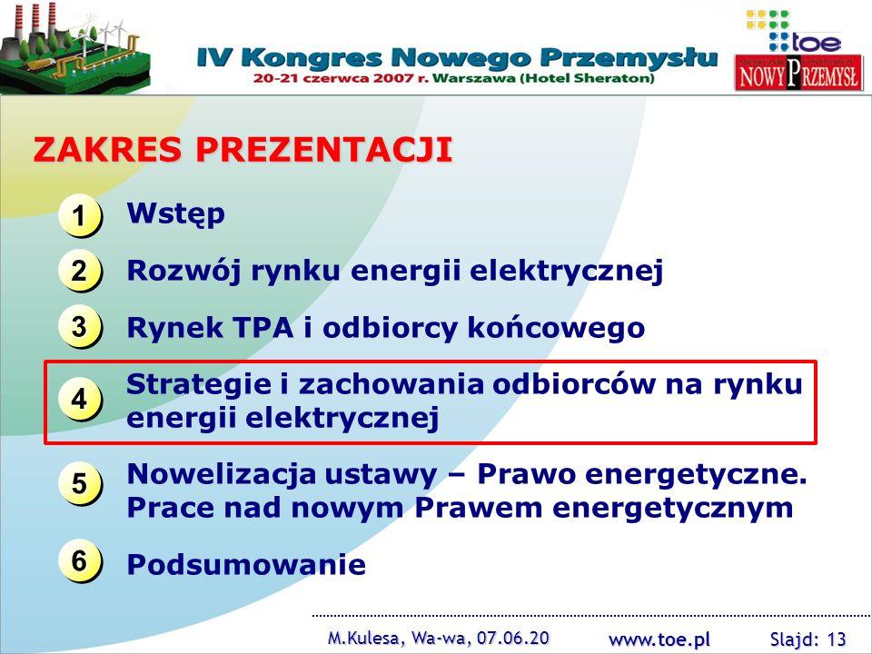 www.toe.pl M.Kulesa, Wa-wa, 07.06.20 Slajd: 13 ZAKRES PREZENTACJI 1111 1111 3333 3333 2222 2222 4444 4444 Wstęp Rozwój rynku energii elektrycznej Ryne