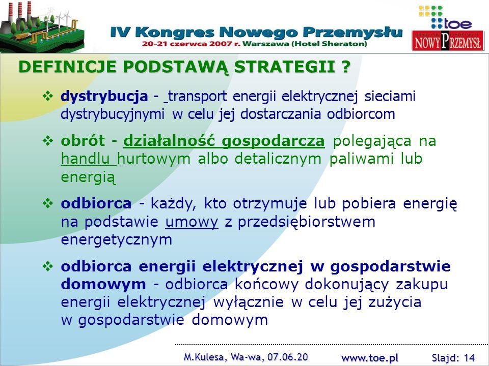 www.toe.pl M.Kulesa, Wa-wa, 07.06.20 Slajd: 14 dystrybucja - transport energii elektrycznej sieciami dystrybucyjnymi w celu jej dostarczania odbiorcom
