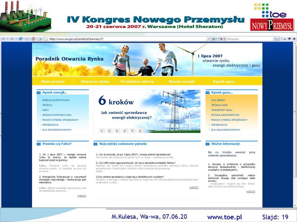www.toe.pl M.Kulesa, Wa-wa, 07.06.20 Slajd: 19