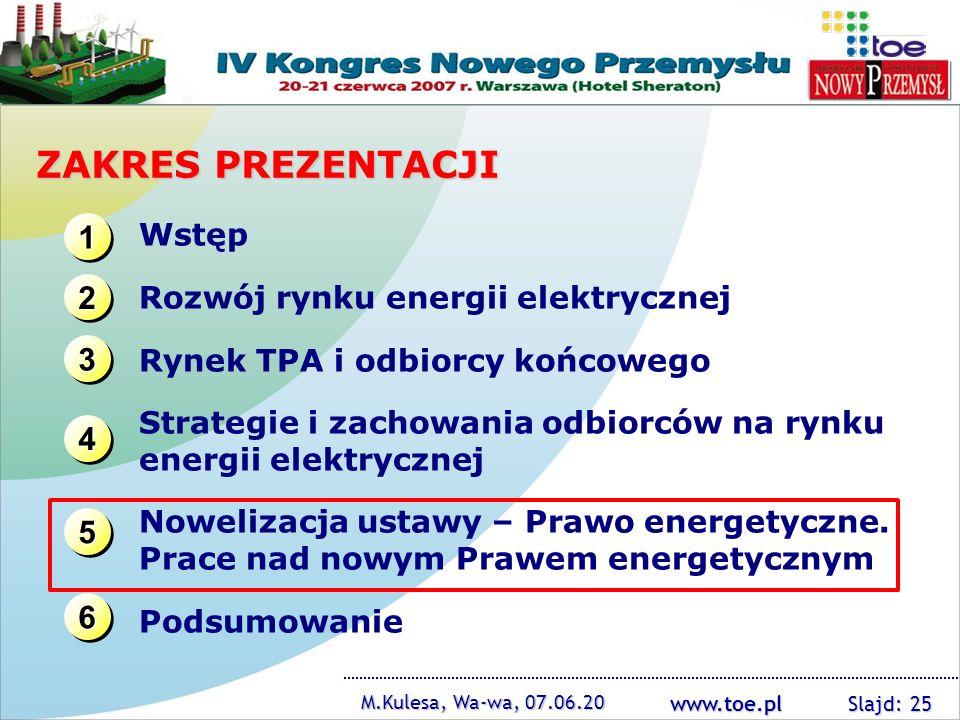 www.toe.pl M.Kulesa, Wa-wa, 07.06.20 Slajd: 25 ZAKRES PREZENTACJI 1111 1111 3333 3333 2222 2222 4444 4444 Wstęp Rozwój rynku energii elektrycznej Ryne