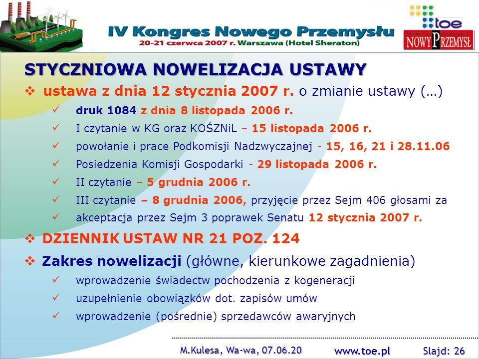 www.toe.pl M.Kulesa, Wa-wa, 07.06.20 Slajd: 26 ustawa z dnia 12 stycznia 2007 r. o zmianie ustawy (…) druk 1084 z dnia 8 listopada 2006 r. I czytanie