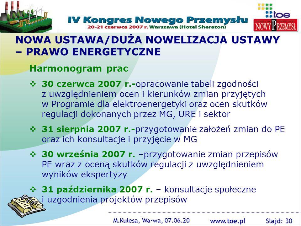 www.toe.pl NOWA USTAWA/DUŻA NOWELIZACJA USTAWY – PRAWO ENERGETYCZNE Harmonogram prac 30 czerwca 2007 r.-opracowanie tabeli zgodności z uwzględnieniem