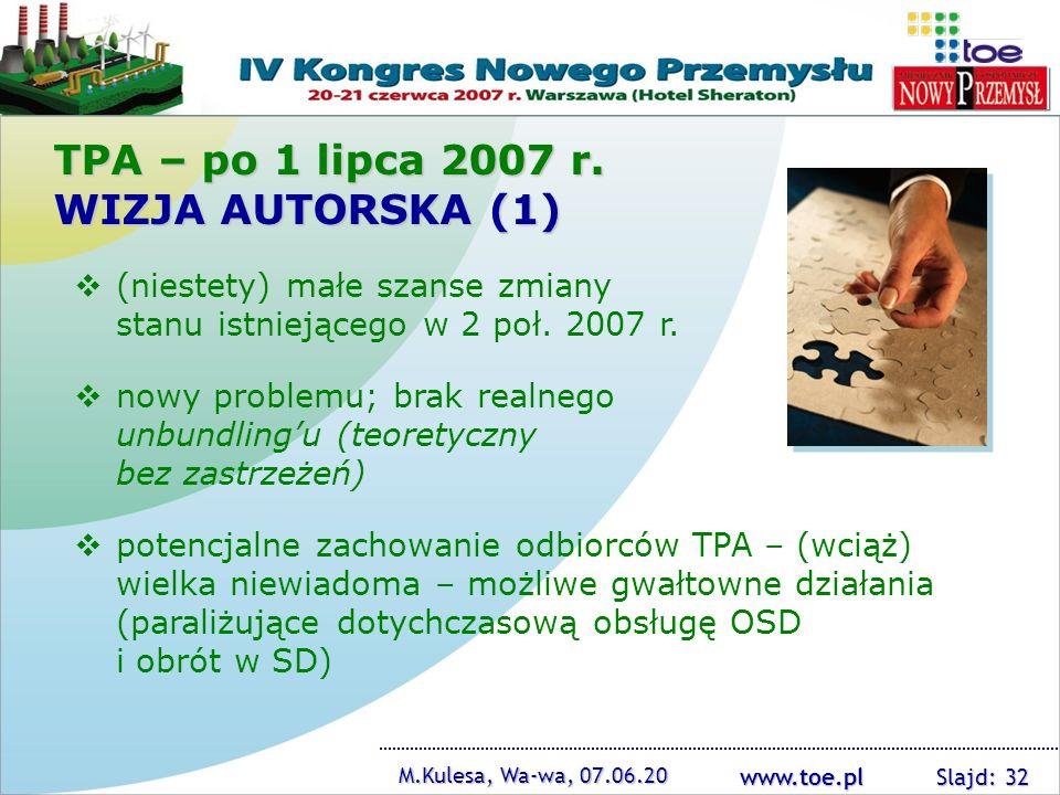 www.toe.pl M.Kulesa, Wa-wa, 07.06.20 Slajd: 32 TPA – po 1 lipca 2007 r. WIZJA AUTORSKA (1) (niestety) małe szanse zmiany stanu istniejącego w 2 poł. 2