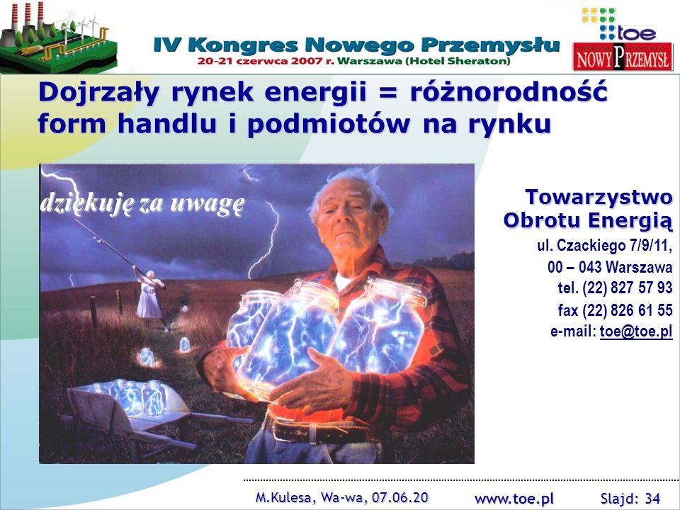 www.toe.pl M.Kulesa, Wa-wa, 07.06.20 Slajd: 34 Towarzystwo Obrotu Energią ul. Czackiego 7/9/11, 00 – 043 Warszawa tel. (22) 827 57 93 fax (22) 826 61