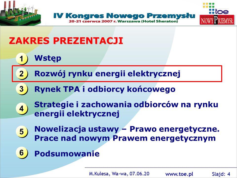 www.toe.pl M.Kulesa, Wa-wa, 07.06.20 Slajd: 4 ZAKRES PREZENTACJI 1111 1111 3333 3333 2222 2222 4444 4444 Wstęp Rozwój rynku energii elektrycznej Rynek