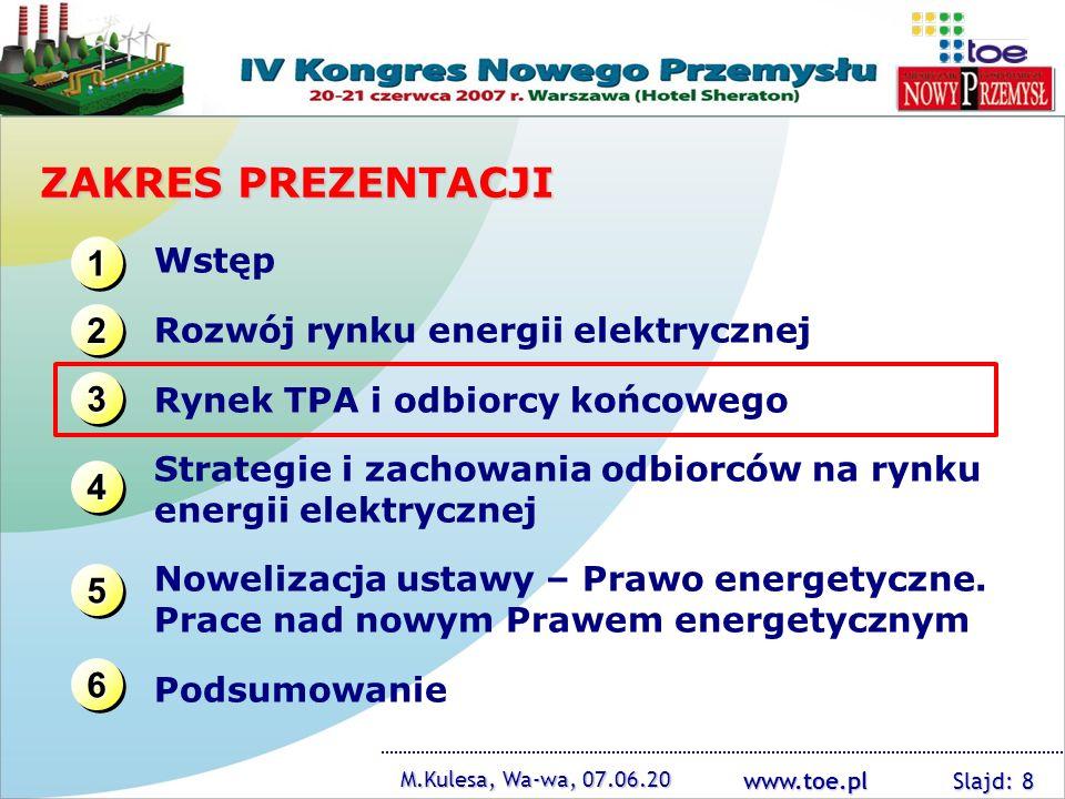 www.toe.pl M.Kulesa, Wa-wa, 07.06.20 Slajd: 8 ZAKRES PREZENTACJI 1111 1111 3333 3333 2222 2222 4444 4444 Wstęp Rozwój rynku energii elektrycznej Rynek