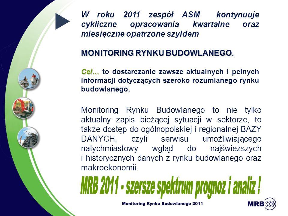 W roku 2011 zespół ASM kontynuuje cykliczne opracowania kwartalne oraz miesięczne opatrzone szyldem MONITORING RYNKU BUDOWLANEGO MONITORING RYNKU BUDOWLANEGO.