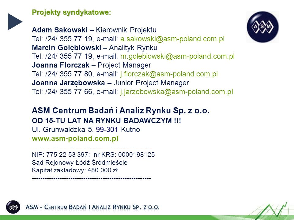 Projekty syndykatowe: Adam Sakowski – Kierownik Projektu Tel: /24/ 355 77 19, e-mail: a.sakowski@asm-poland.com.pl Marcin Gołębiowski – Analityk Rynku