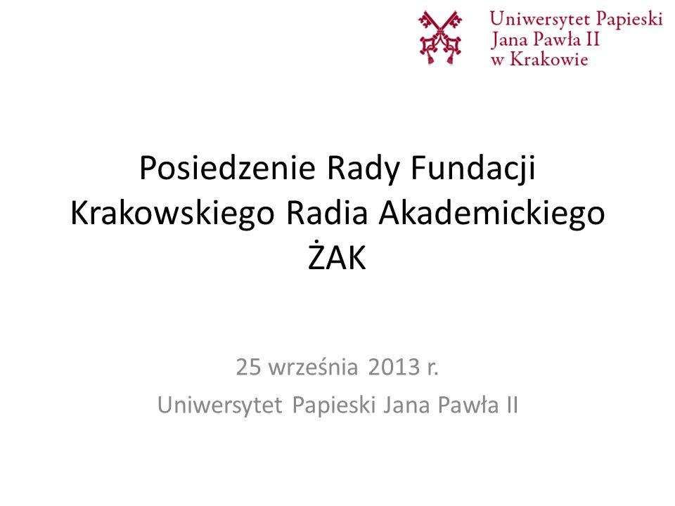 Posiedzenie Rady Fundacji Krakowskiego Radia Akademickiego ŻAK 25 września 2013 r. Uniwersytet Papieski Jana Pawła II