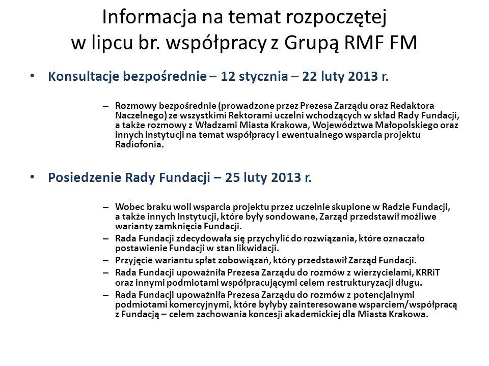 Konsultacje bezpośrednie – 12 stycznia – 22 luty 2013 r. – Rozmowy bezpośrednie (prowadzone przez Prezesa Zarządu oraz Redaktora Naczelnego) ze wszyst