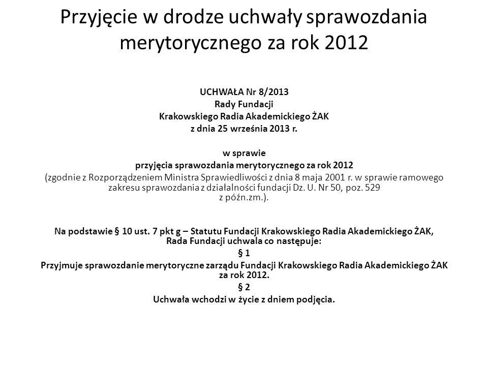 Przyjęcie w drodze uchwały sprawozdania merytorycznego za rok 2012 UCHWAŁA Nr 8/2013 Rady Fundacji Krakowskiego Radia Akademickiego ŻAK z dnia 25 września 2013 r.