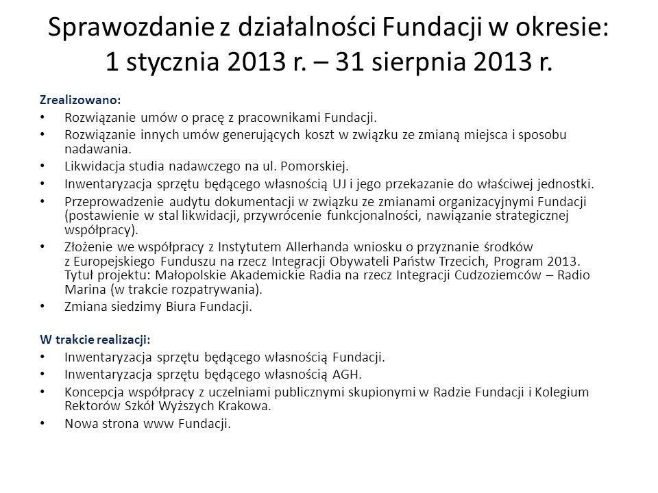 Zrealizowano: Rozwiązanie umów o pracę z pracownikami Fundacji. Rozwiązanie innych umów generujących koszt w związku ze zmianą miejsca i sposobu nadaw