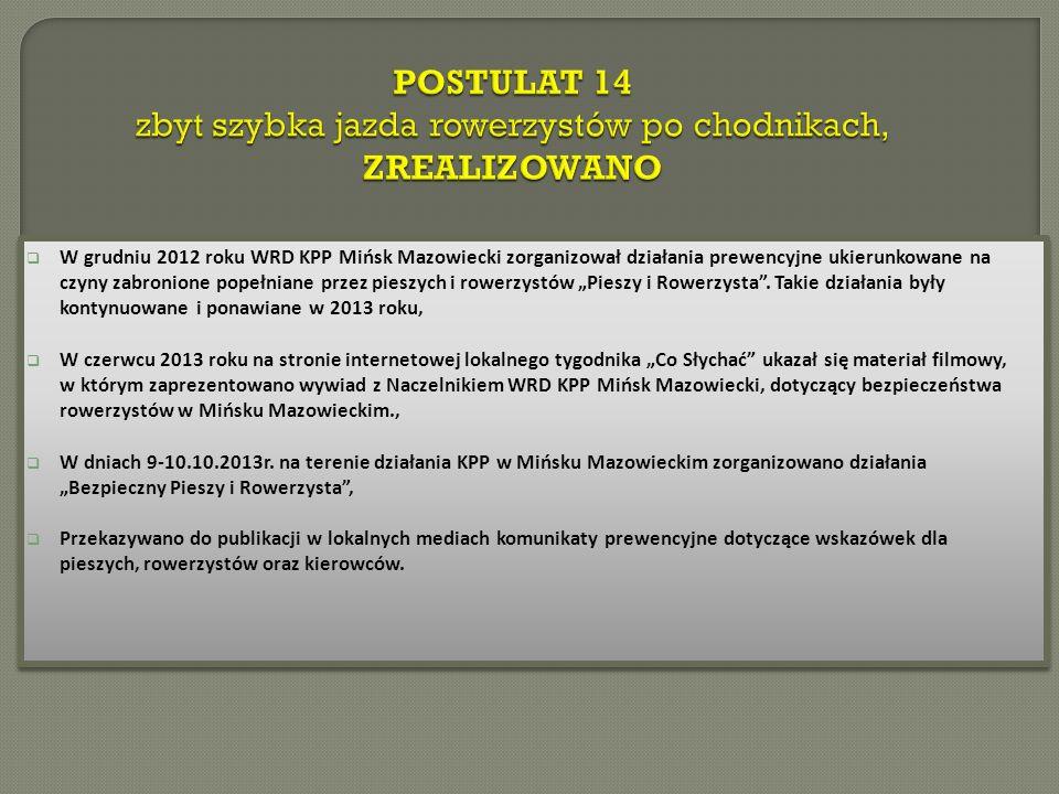 W grudniu 2012 roku WRD KPP Mińsk Mazowiecki zorganizował działania prewencyjne ukierunkowane na czyny zabronione popełniane przez pieszych i rowerzystów Pieszy i Rowerzysta.