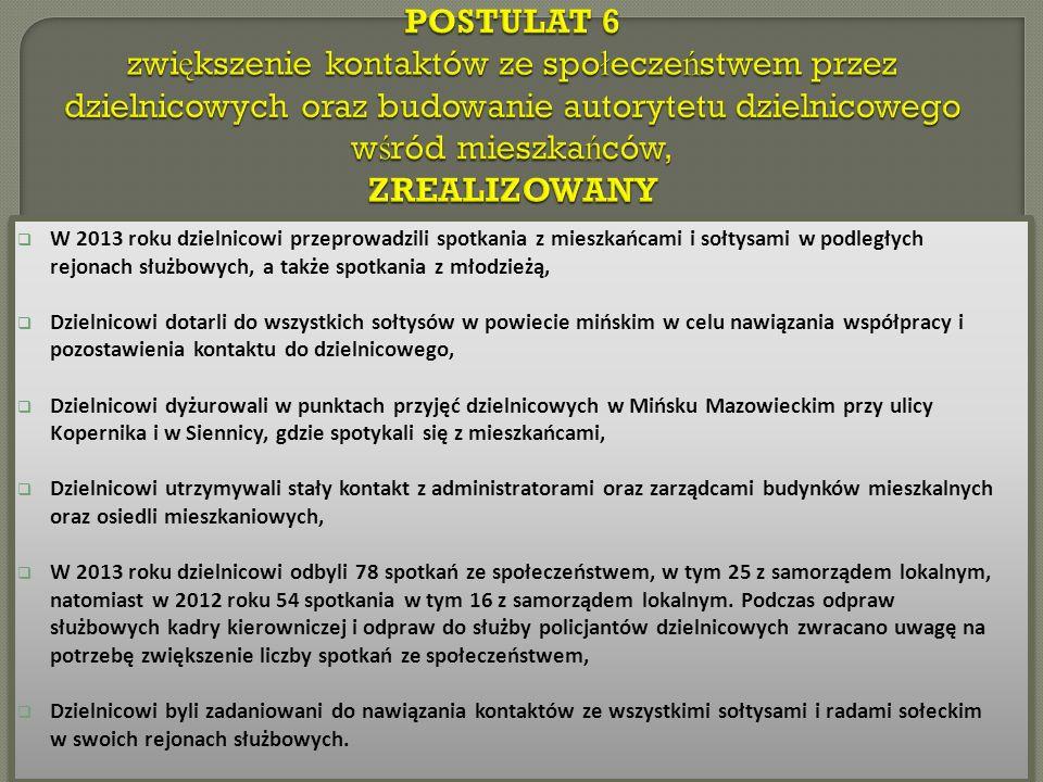 W 2013 roku dzielnicowi przeprowadzili spotkania z mieszkańcami i sołtysami w podległych rejonach służbowych, a także spotkania z młodzieżą, Dzielnicowi dotarli do wszystkich sołtysów w powiecie mińskim w celu nawiązania współpracy i pozostawienia kontaktu do dzielnicowego, Dzielnicowi dyżurowali w punktach przyjęć dzielnicowych w Mińsku Mazowieckim przy ulicy Kopernika i w Siennicy, gdzie spotykali się z mieszkańcami, Dzielnicowi utrzymywali stały kontakt z administratorami oraz zarządcami budynków mieszkalnych oraz osiedli mieszkaniowych, W 2013 roku dzielnicowi odbyli 78 spotkań ze społeczeństwem, w tym 25 z samorządem lokalnym, natomiast w 2012 roku 54 spotkania w tym 16 z samorządem lokalnym.