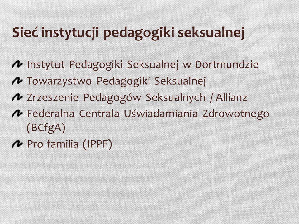 Sieć instytucji pedagogiki seksualnej Instytut Pedagogiki Seksualnej w Dortmundzie Towarzystwo Pedagogiki Seksualnej Zrzeszenie Pedagogów Seksualnych